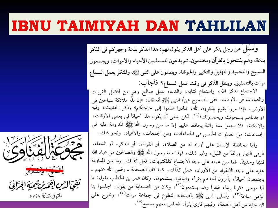 ibnu taimiyah dan tahlilan