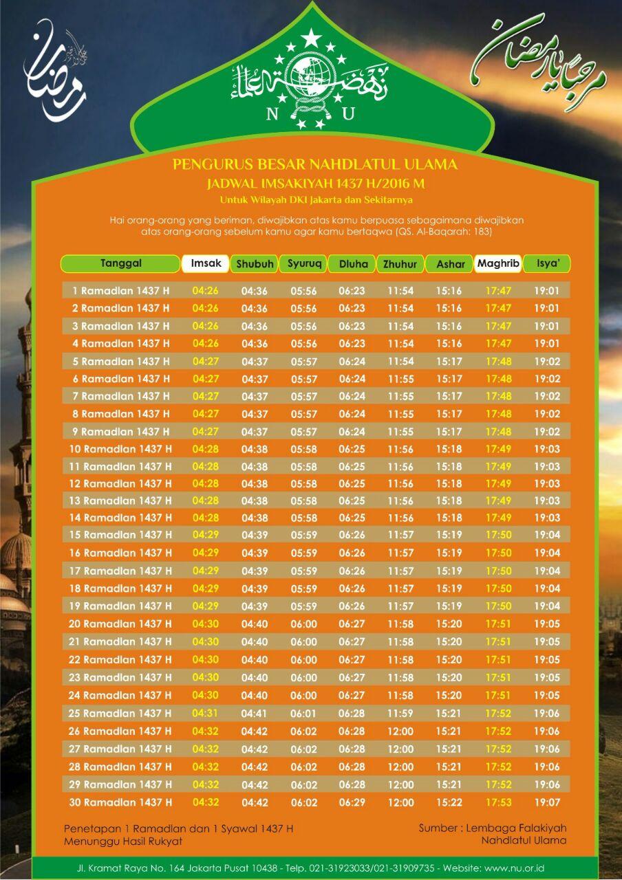 jadwal Imaskiyah PBNU