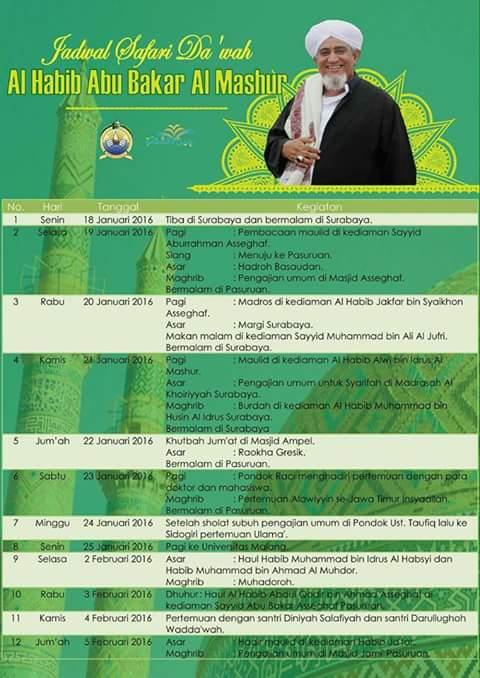 Jadwal Safari dakwah Al habib Abu Bakar Al Mashur